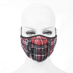 DEVIL FASHION Unisex Gothic Fitted Ropes Plaid Masks With Disposable Filter Insert Set of two