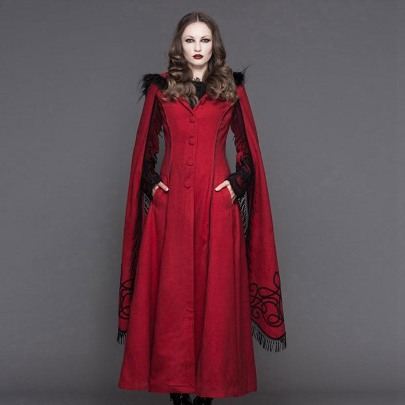 Women's Angel Sleeve Tasseled Goth Long Coat-Punk Design