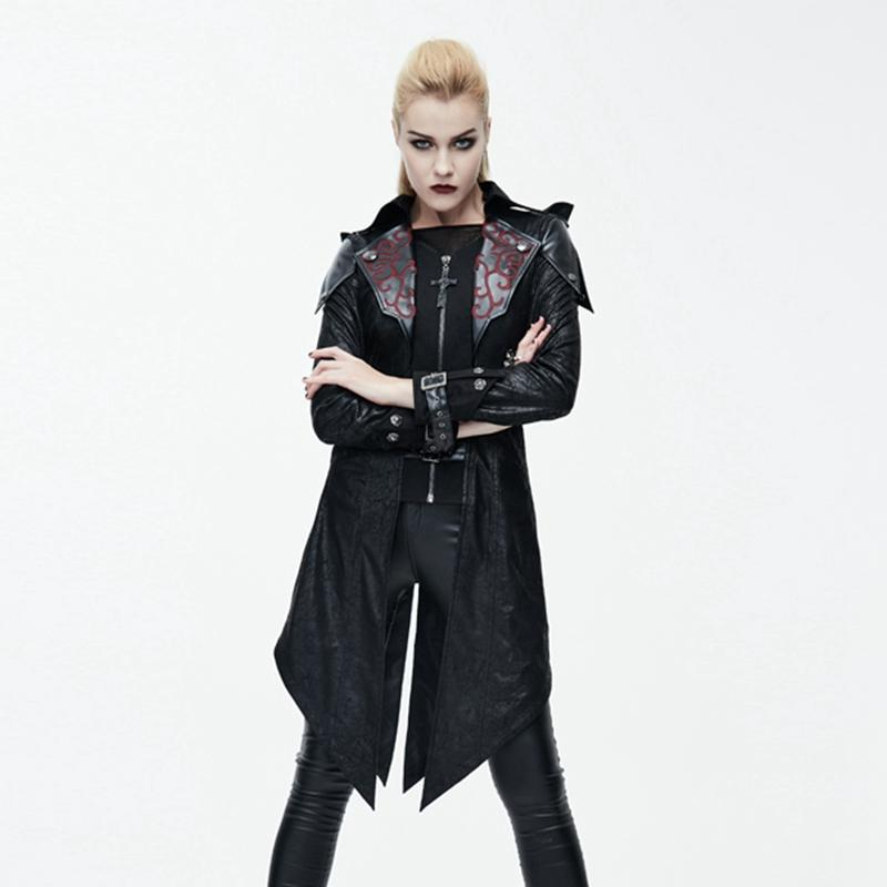Women's Asymmetric Hem Hooded Goth Coat with Leather Details-Punk Design