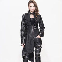 Women's Asymmetric Leather Punk Coat-Punk Design