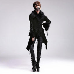 Women's Asymmetric Vintage Goth Fur Collar Coat-Punk Design