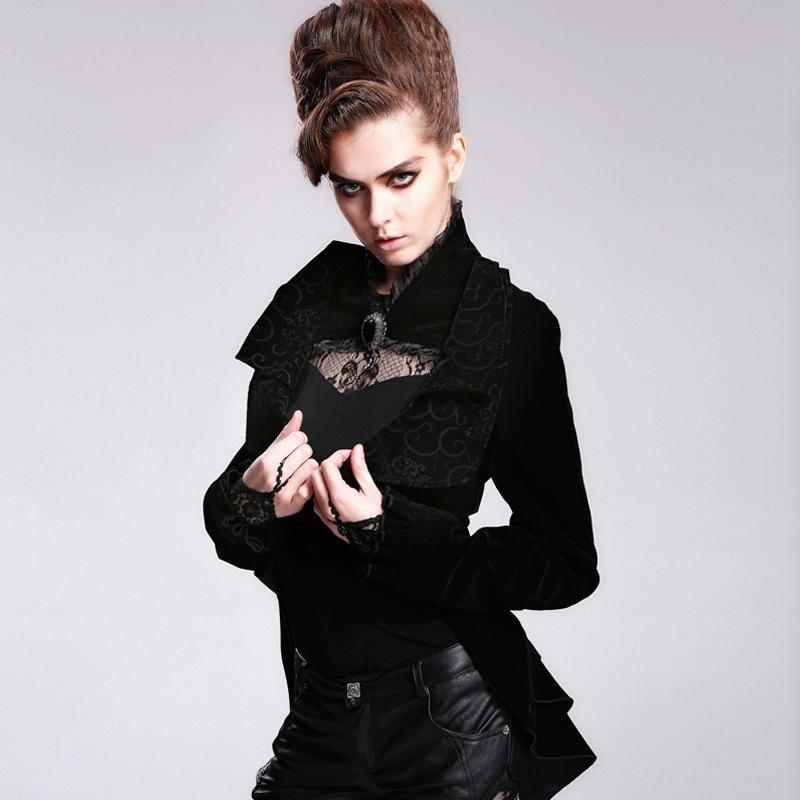 DEVIL FASHION Women's Asymmetric Vintage Jacket