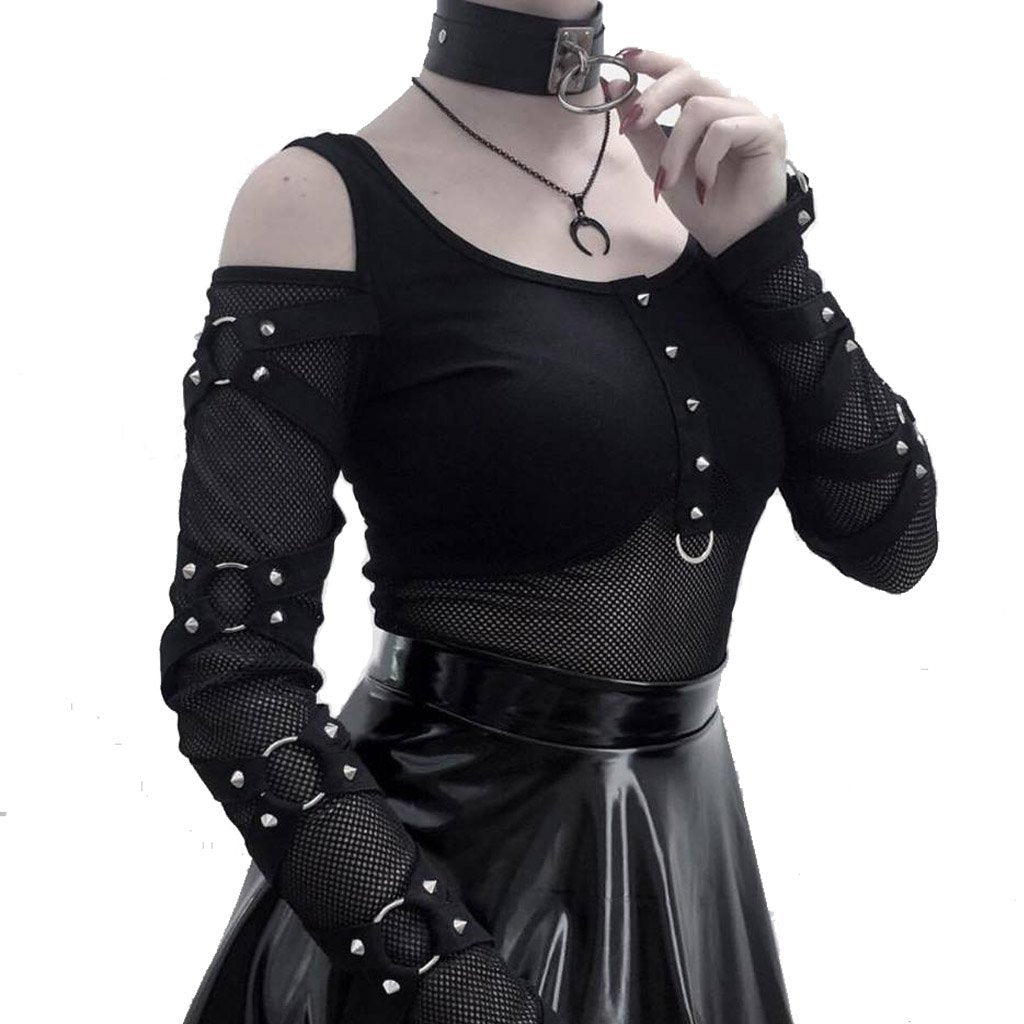Women's Cold-Shoulder Strappy Steampunk Mesh Top-Punk Design