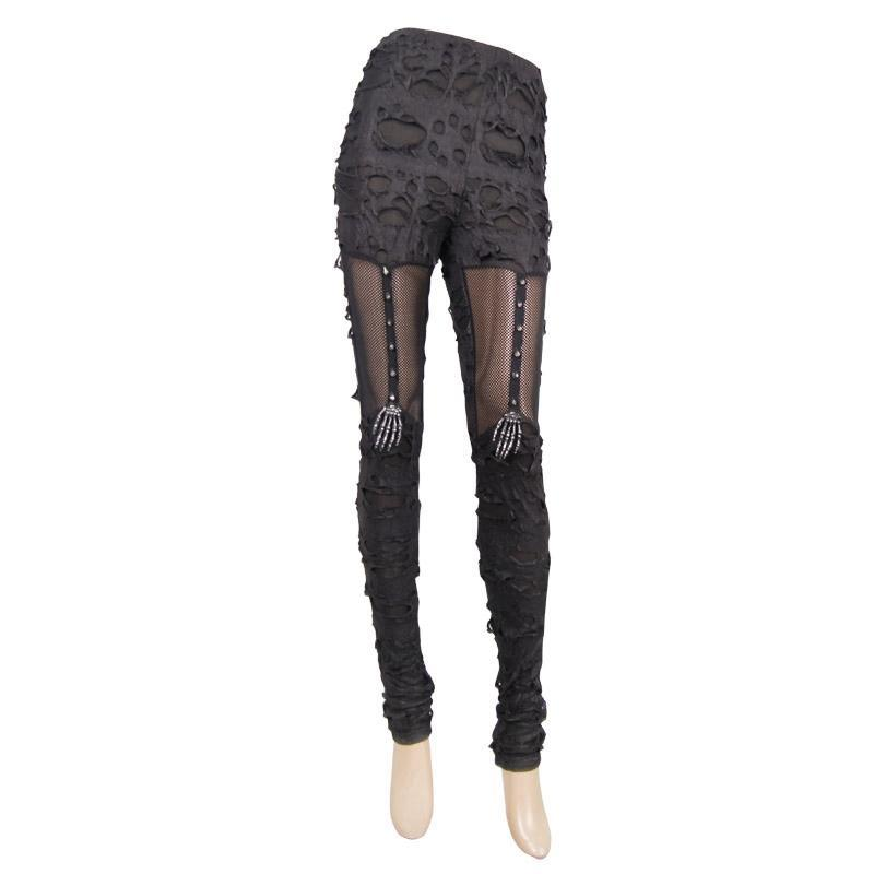 DEVIL FASHION Women's Distressed Faux Leather and Mesh Goth Leggings With Skeletal Hand