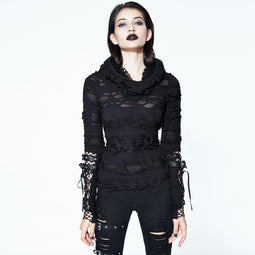Women's Distressed Hooded Punk Goth Top-Punk Design