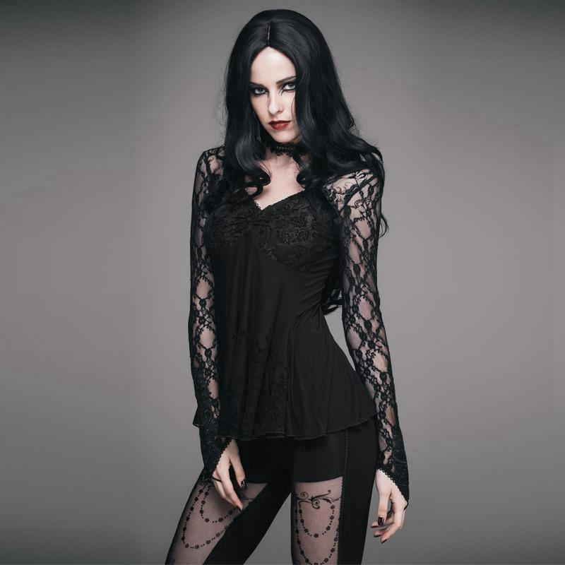 Empireline Lace Short Goth Top-Punk Design para mujer