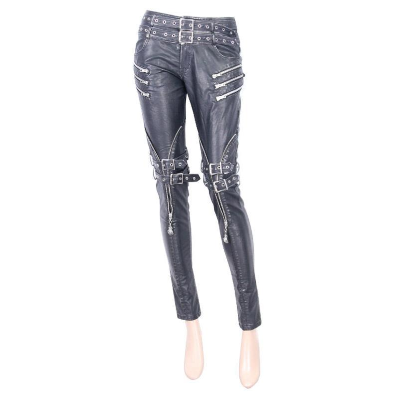 Women's Faux Leather Goth Skinny Pants With Three Zippered Pockets-Punk Design