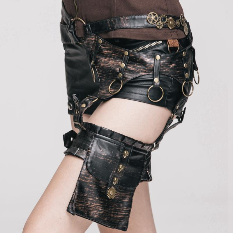 Women's Faux Leather shorts & Hip Girdle-Punk Design