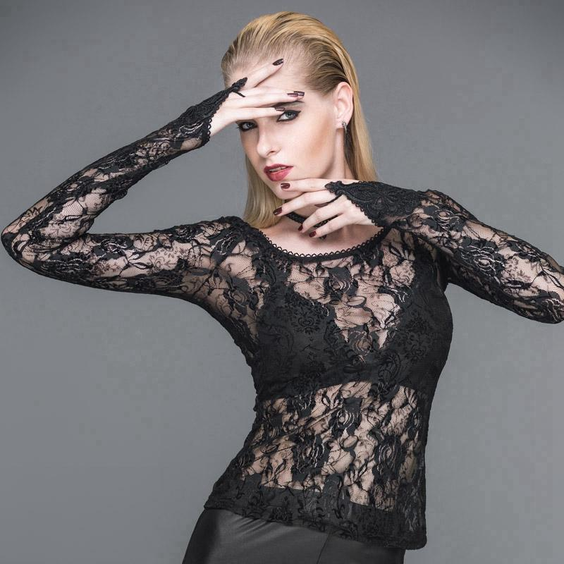 Women's Full Lace Punk T-Shirt-Punk Design
