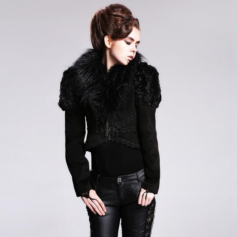 DEVIL FASHION Women's Fur lined Vintage Bolero Style Jacket