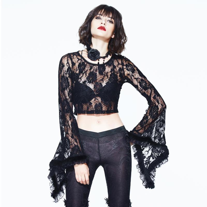 DEVIL FASHION Women's Goth Angel Sleeved Lace Top