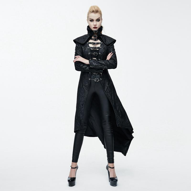 Women's Goth Animal Skull Asymmetric Overcoat-Punk Design