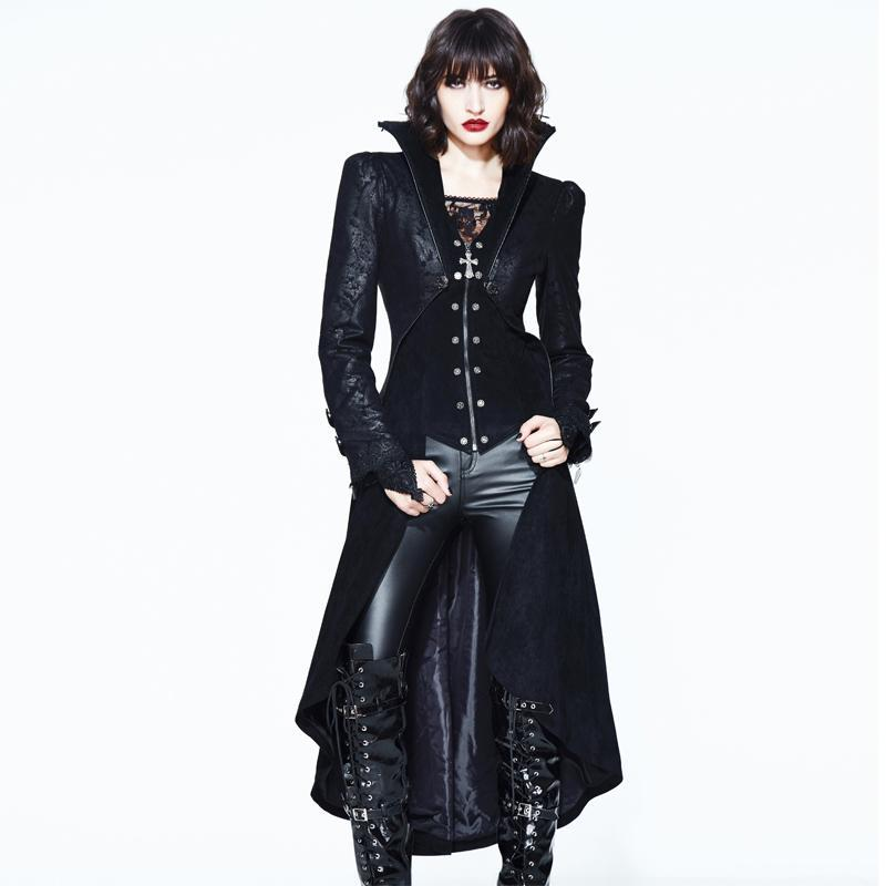 Women's Goth Asymmetric Frock Coat-Punk Design