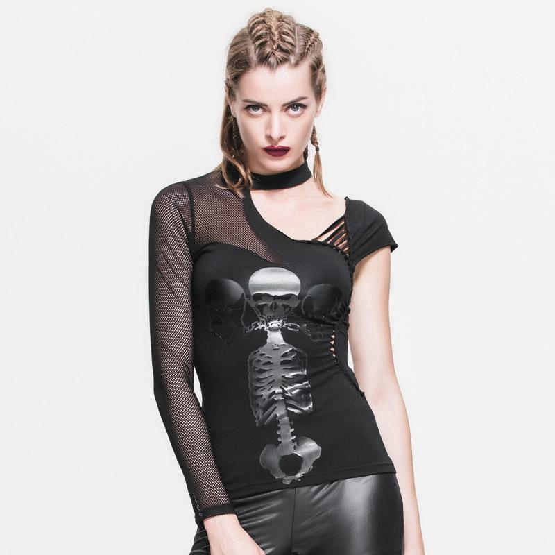 Women's Goth Asymmetric T-Shirt With Skeleton Design-Punk Design