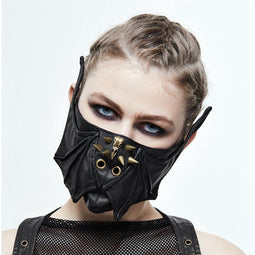Women's Goth Bat Wing & Skull Face Mask-Punk Design
