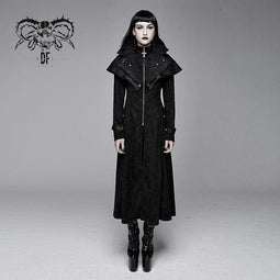 DEVIL FASHION Damen Goth Cape Cape Kragen Lange Jacke