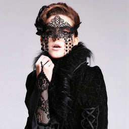 Women's Goth Filigree Face Mask-Punk Design
