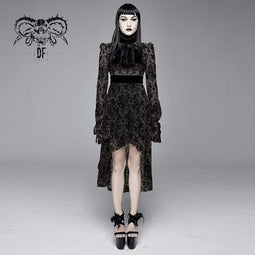 DEVIL FASHION Women's Goth Floral Lace Long Sleeved Dresses