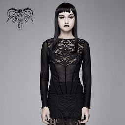 DEVIL FASHION Women's Goth Floral Mesh Tops