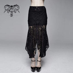 DEVIL FASHION Damen Goth Floral Translucent Fishtail Rock
