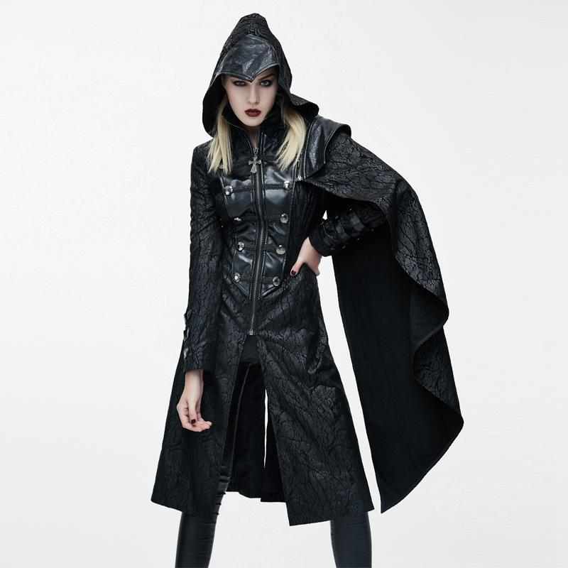 Women's Goth Hooded Princess Coat With Pelisse-Punk Design