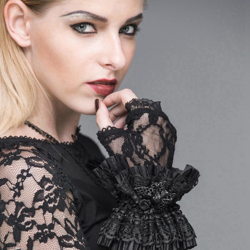 Frauen Goth Lace Fingerless Gloves-Punk Design