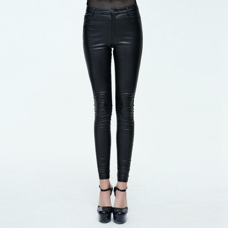 Women's Goth Leather Low Rise Pants With Skull Button-Punk Design