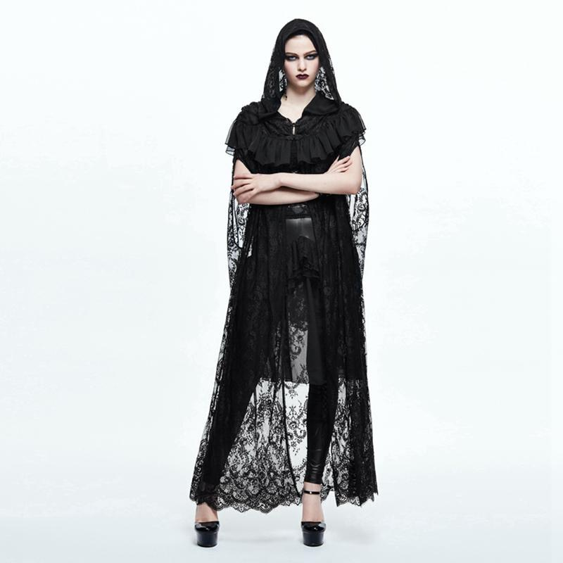 DEVIL FASHION Women's Goth Long Lace Ruffled Cape