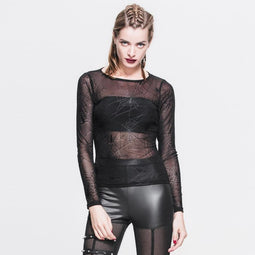 Women's Goth Mesh Spider Web Top-Punk Design