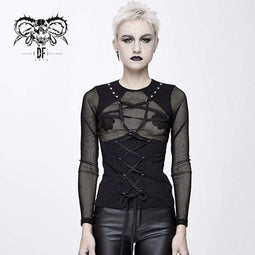 DEVIL FASHION Damen Goth Pentagram Schnürung Sheer Mesh Tops