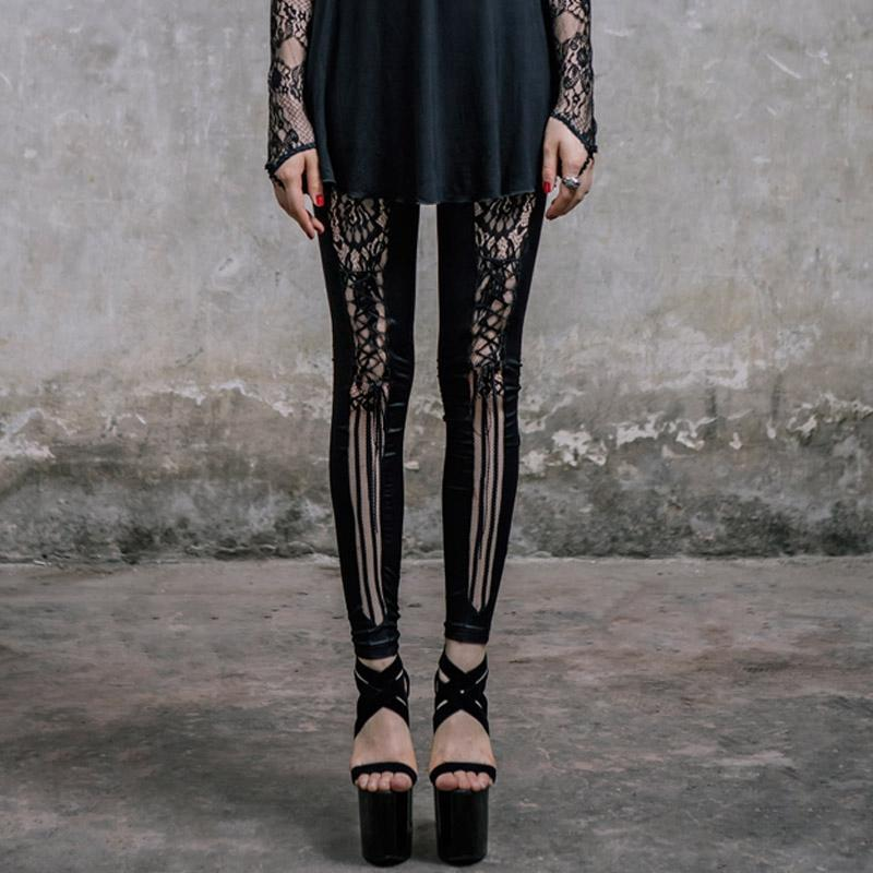 Women's Goth Punk Leggings With Lace Insets-Punk Design