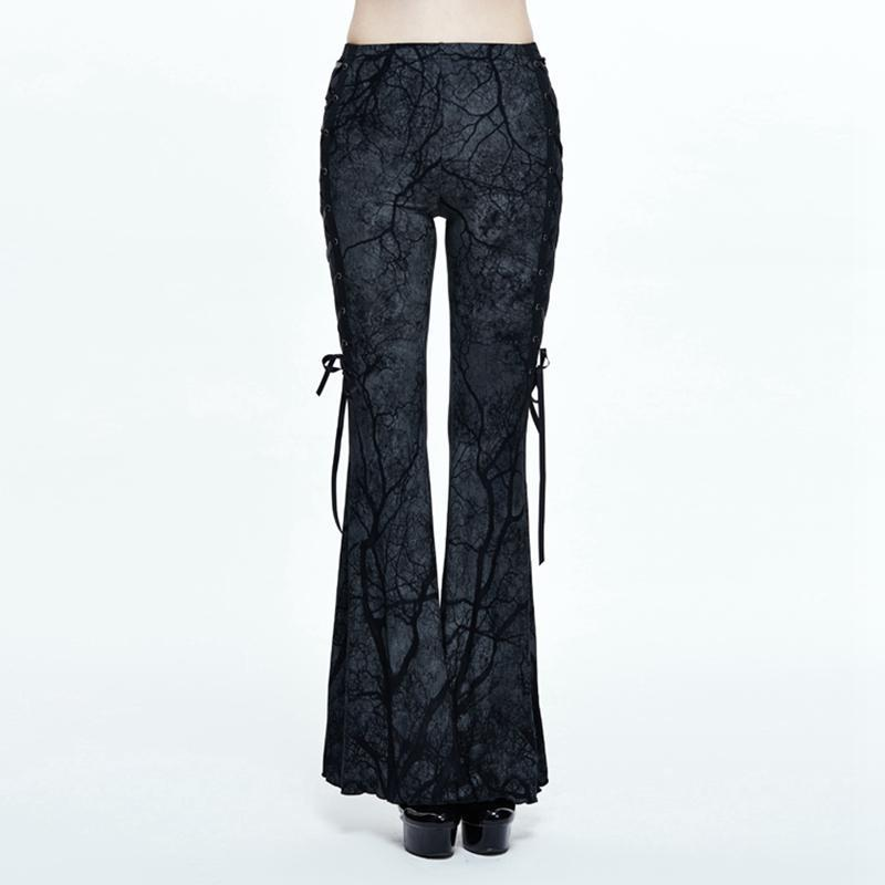 Women's Goth Retro Style Flared Pants-Punk Design