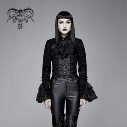 DEVIL FASHION Manteau à queue d'hirondelle Goth Ruffles Velet pour femmes