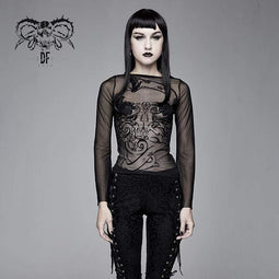 DEVIL FASHION Goth Sheer Flare Sleeved Mesh Tops für Damen