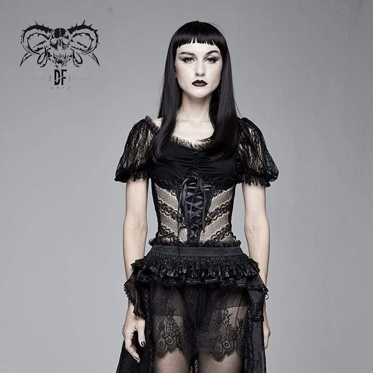 DEVIL FASHION Women's Goth Sheer Lace Puff Sleeved Tops
