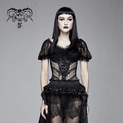 DEVIL FASHION Damen Goth Sheer Lace Pace Sleeved Tops