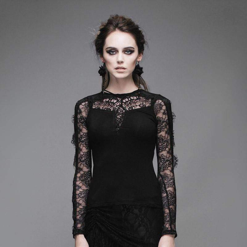 DEVIL FASHION Women's Goth Short Top With Lace Yoke
