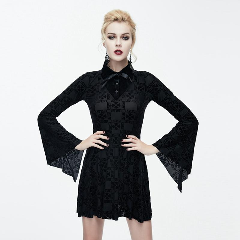 Damen Goth Short Trapez Dress-Punk Design