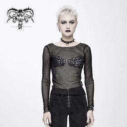 DEVIL FASHION Damen Goth Skull Sheer Mesh Tops