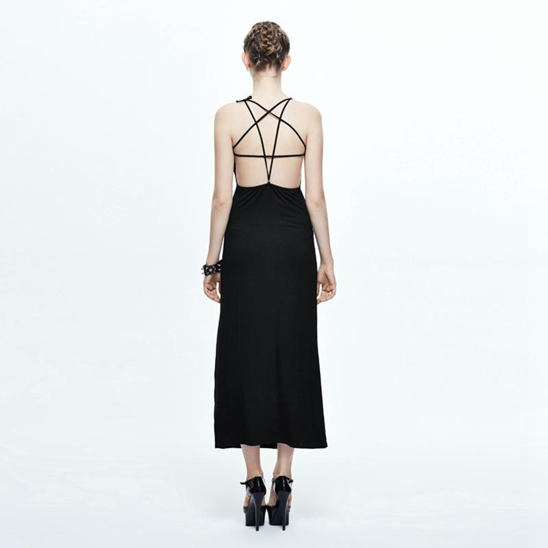 Women's Goth Spaghetti Strap Dress-Punk Design