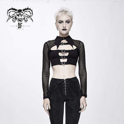 DEVIL FASHION Top corti in mesh con cinghie gotiche da donna