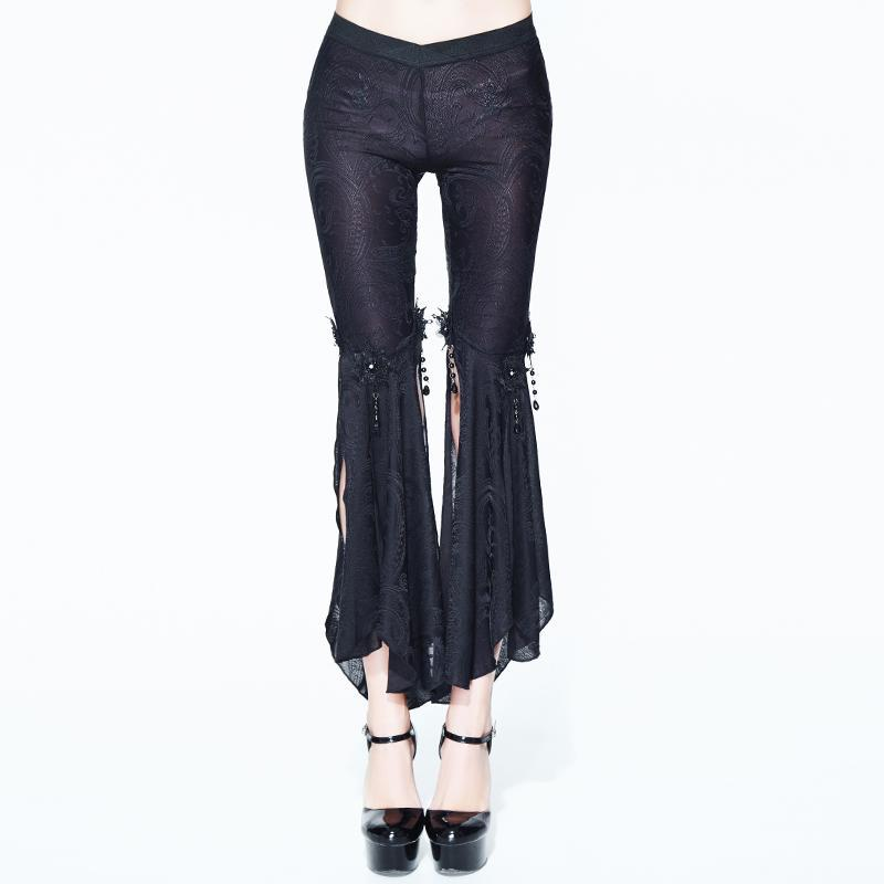 Women's Goth Trousers With Long slits-Punk Design