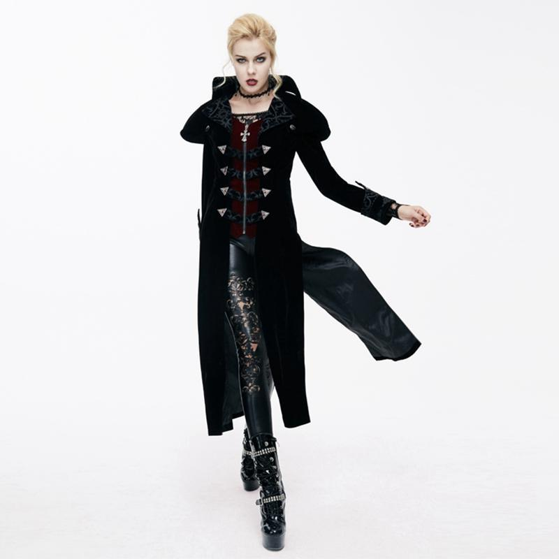 Damen Goth Velvet Tail Coat-Punk Design