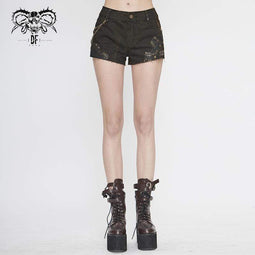 DEVIL FASHION Short Gothic Black and Copper Rivets Clouté Femme