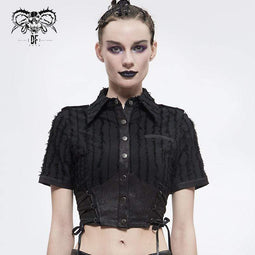 DEVIL FASHION Women's Gothic Black Collared Short Shirts