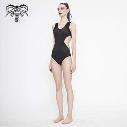DEVIL FASHION Women's Gothic Black Sleeveless Leotard Swimming Suit