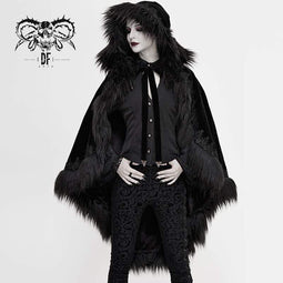 DEVIL FASHION Women's Gothic Faux Fur Velet Cloaks
