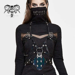 DEVIL FASHION Women's Gothic Faux Leather Body Harness With Rivets