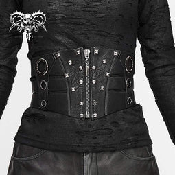 DEVIL FASHION Women's Gothic Faux Leather Ripped Front Zip Belts With Rivets