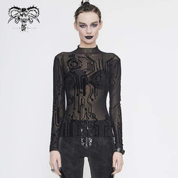 DEVIL FASHION Women's Gothic Full Sleeves High Neck Sheer Lace Tops